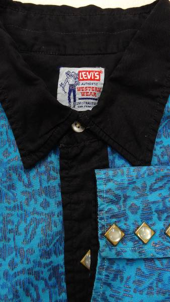 ビンテージ LEVIS リーバイス 50S~60S サドルマン タグ 希少 デザイン 青 模様入り 黒 2トーン 仕様 ウエスタン シャツ ダイヤ ボタン 珍_画像3