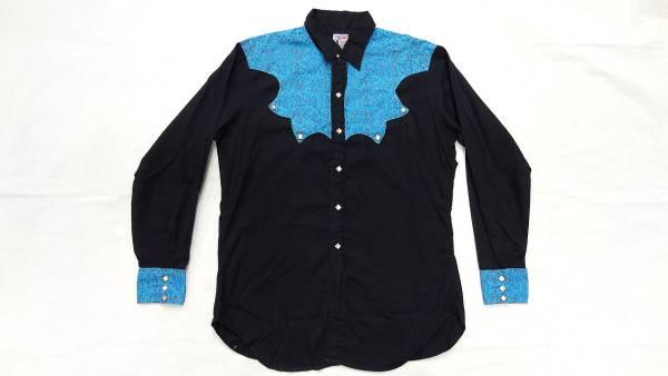 ビンテージ LEVIS リーバイス 50S~60S サドルマン タグ 希少 デザイン 青 模様入り 黒 2トーン 仕様 ウエスタン シャツ ダイヤ ボタン 珍_画像1
