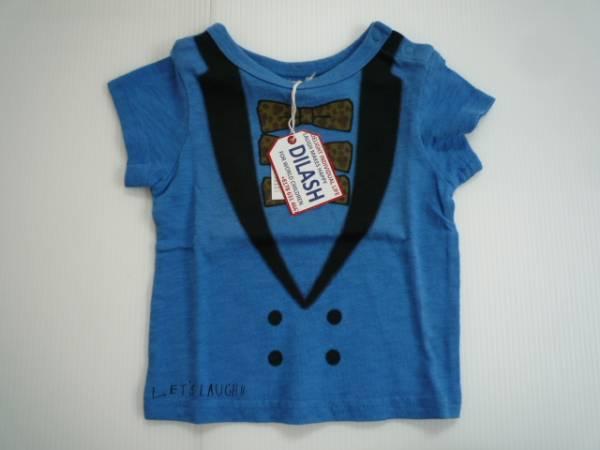 【新品・30%OFF!!】■DLASH■ 半袖Tシャツ 80 青 イラスト