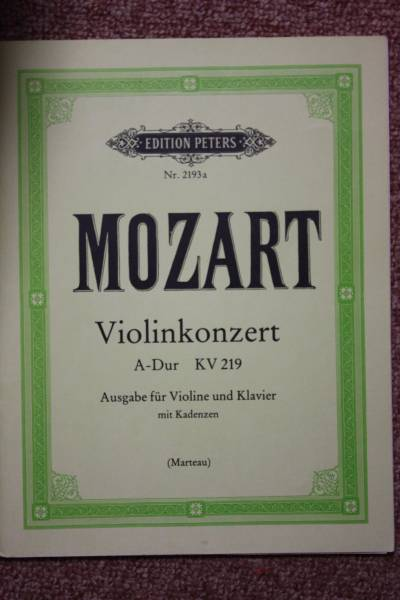 モーツァルト:バイオリン協奏曲第5番KV 219 ペータース社ピアノ伴奏付ソロ楽譜/マルトー編_画像1