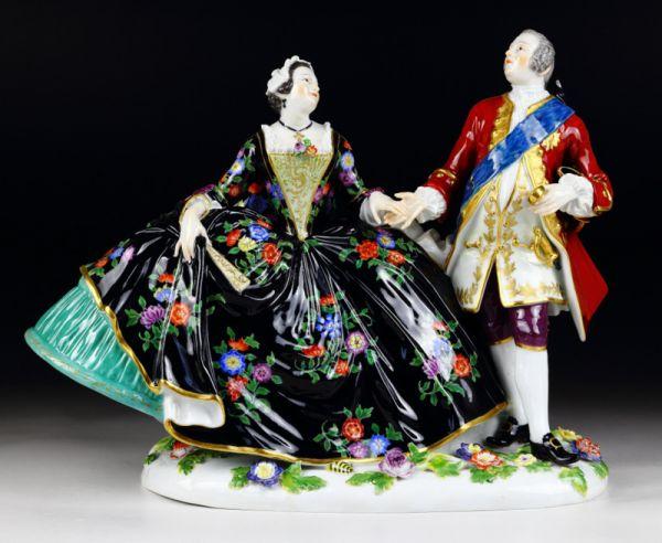 古マイセン 人形 フィギュア フィギュリン アウグスト三世とマリア王妃 舞踏会 ケンドラー