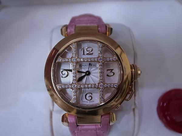 CARTIER カルティエ パシャ32mm 純正ダイヤグリッド 腕時計_画像2