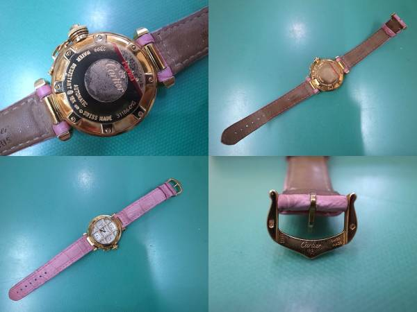 CARTIER カルティエ パシャ32mm 純正ダイヤグリッド 腕時計_画像3