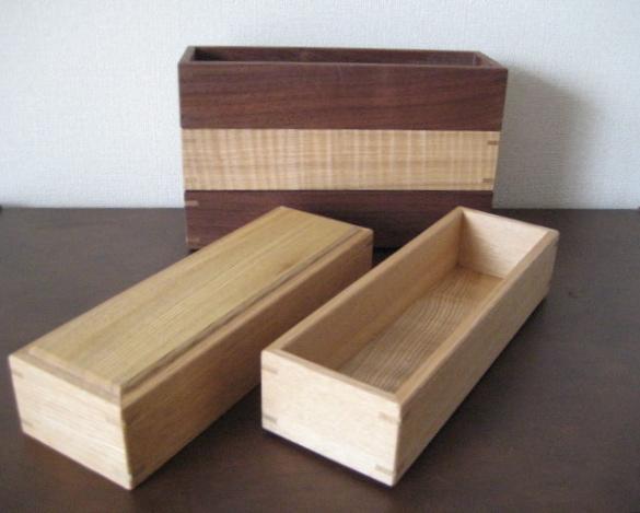 天然木のカトラリーBOX ハンドメイド ウォルナット タモ_タモ材