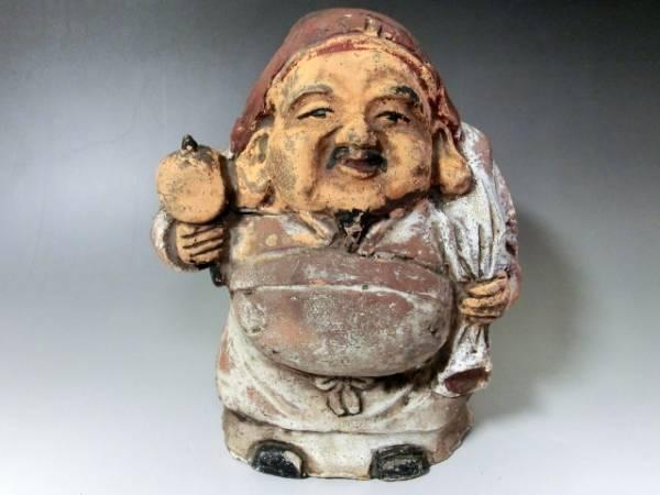 土人形■大黒さん 古い時代物の置物 オブジェ 七福神 大黒様 古美術 骨董品■_画像1