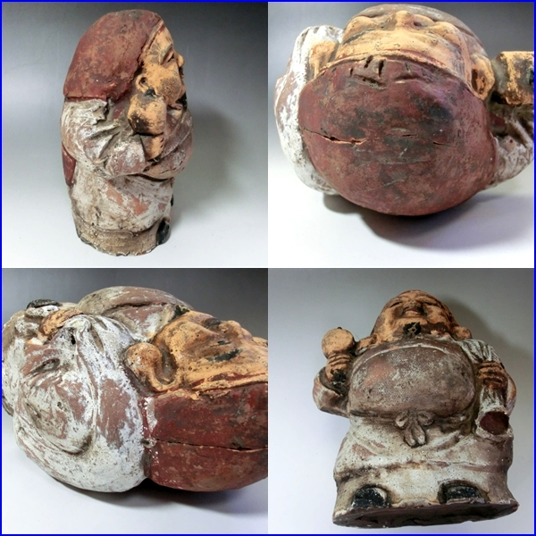 土人形■大黒さん 古い時代物の置物 オブジェ 七福神 大黒様 古美術 骨董品■_画像3