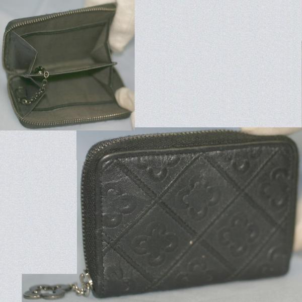 marieclaire女性用黒い10x7,5㎝ラウンドファスナー小銭入れ美品_画像2