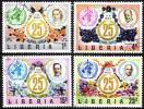 『リベリア:使用済 1973年 世界保健機関WHO25周年記念 4種』