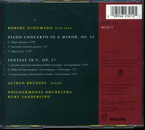 ブレンデル シューマン/ピアノ協奏曲 PHILIPS輸独盤_画像2