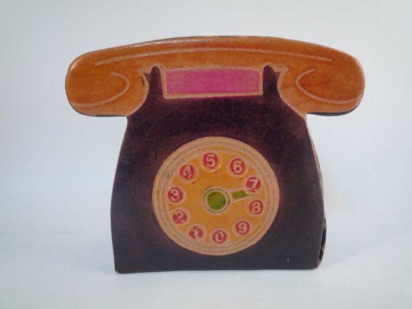 インド 革製 貯金箱 電話 アジア 手作り 一品もの 置物_画像1