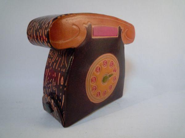 インド 革製 貯金箱 電話 アジア 手作り 一品もの 置物_画像3