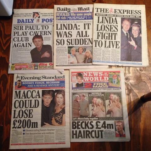 UK新聞5冊セット Paul McCartney ポールマッカートニー linda