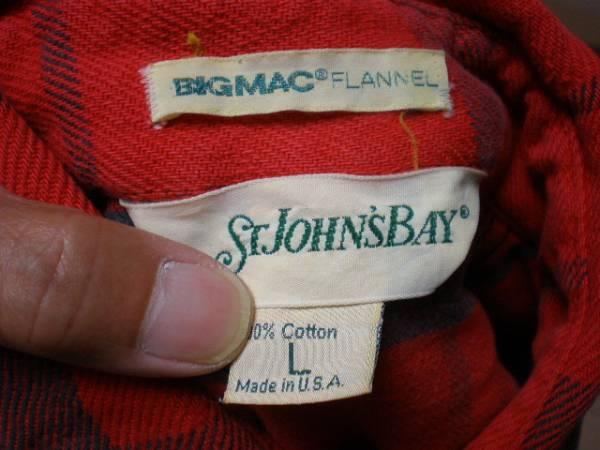 即決 ヴィンテージ USA製 ST JOHNSBAY ヘヴィーネルシャツ L 検BIGMACビッグマック_画像3
