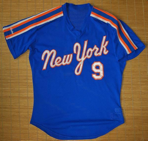 実使用 1987ニューヨーク・メッツ#9グレッグ・ジェフリーズ~ロード用・バッティングジャージ(メッシュ)・半袖 ジャージ ユニフォーム グッズの画像