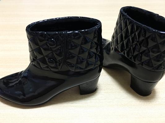 エルプラネット ショートブーツ ブーティ エナメル黒 Mサイズ