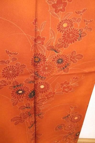 付け下げ着物 正絹 弁柄色に秋草模様_画像1