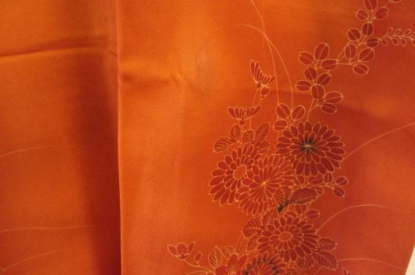 付け下げ着物 正絹 弁柄色に秋草模様_画像3