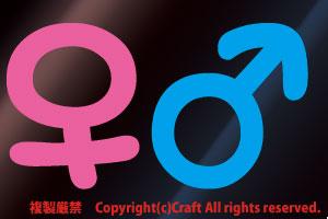 男・女マーク(空色/ライトピンク)各一枚/屋外対候ステッカー_画像1