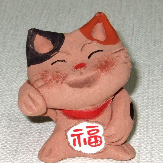 ★可愛いにゃ♪手拈り会津土人形 笑い猫★笑招福♪ ★送料無料!_画像2