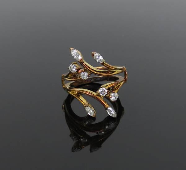 【0.80ct ダイヤモンド】 14金製 18金ゴールドプレート リング