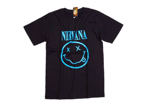 【新品】 XSサイズ ニルヴァーナ Tシャツ スマイル 黒×水色