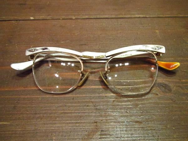 ビンテージ50's60's★B&Lアルミリムレスブロー眼鏡★ボシュロム_画像1