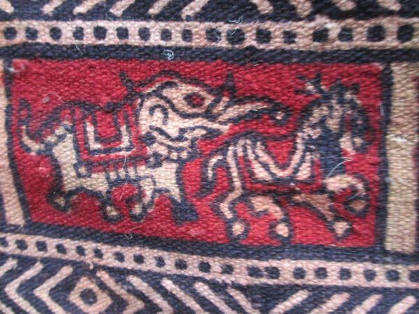 インド 木彫りの版木更紗 木綿 象と馬模様 18世紀後期 状態良し_画像2