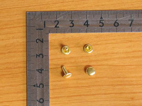 カシメ小両面足並 真鍮キリンス 頭6mm 足8mm 100個セット 金具屋_画像1