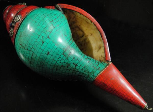 ◆チベット密教法具 法螺貝(シャンカ)羯磨(カツマ) M4