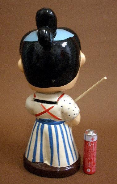 昭和30年代人気漫画時代劇《赤胴鈴之助》首ふり土人形②真顔_画像2