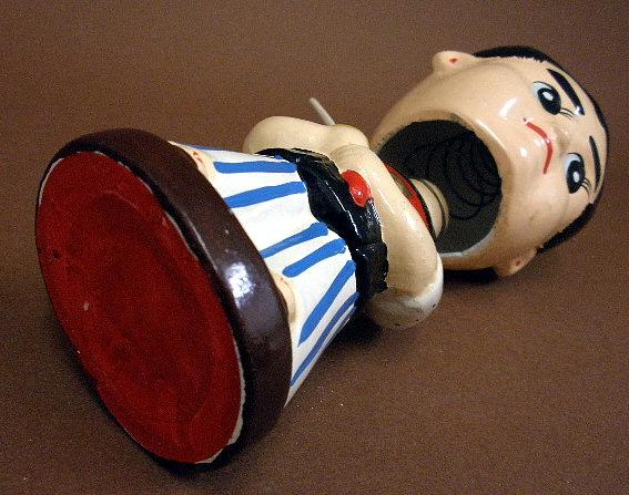 昭和30年代人気漫画時代劇《赤胴鈴之助》首ふり土人形②真顔_画像3