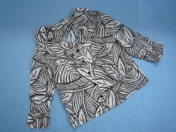 【良品!!】◆DI◆ 衿フリルシャツ 7分袖 総柄 M