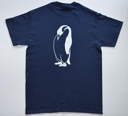 ペンギンTシャツ、ネイビー、メンズ半袖シャツ、L,送料無料_画像2