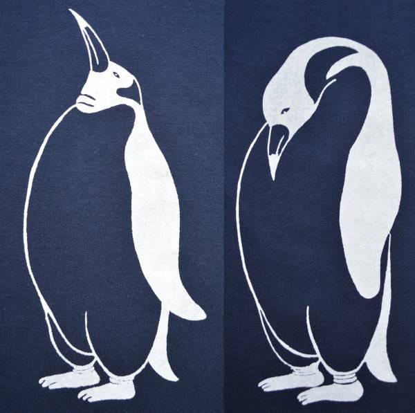 ペンギンTシャツ、ネイビー、メンズ半袖シャツ、L,送料無料_画像3
