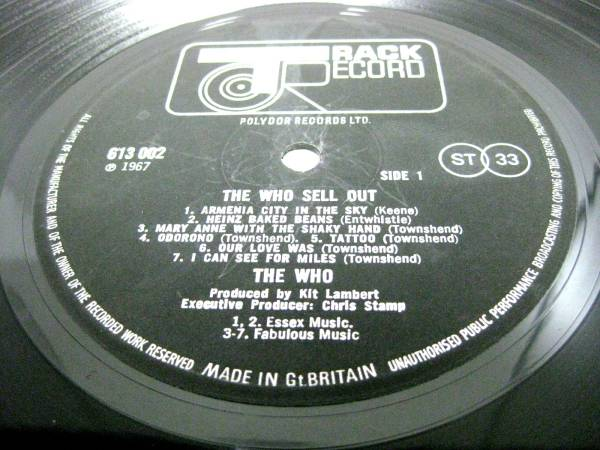 UK TRACK stereoオリジナル/The Who /Sell Out_画像2