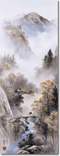 田口紅洋 四季憧憬四季揃え山水 掛軸 掛け軸 新品4点セット_画像2