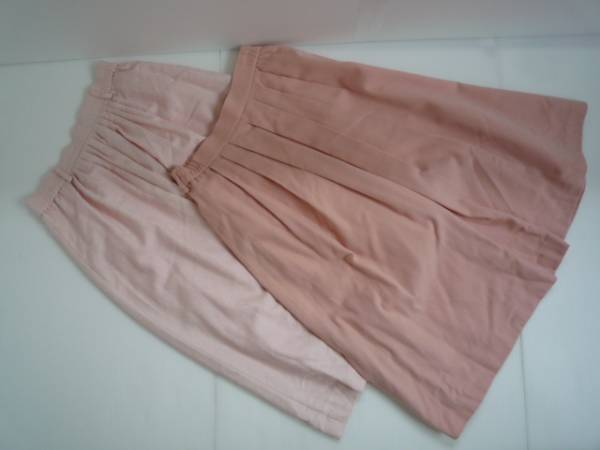 【お得!!】 ■ スカート2点セット ■ ピンク 地模様 無地 L