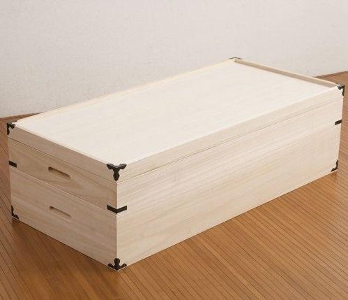 送料無料 防虫と防湿(調湿)効果の高い桐材で、ふた付きで重ねるタイプ たとう紙そのまま 持ち運びもOK 桐衣装ケース2段タイプ
