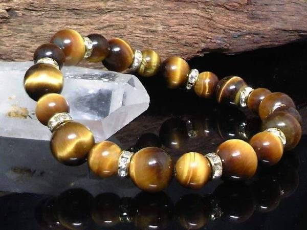 Tiger Eye 10 mm§8mm gold rondelle beads
