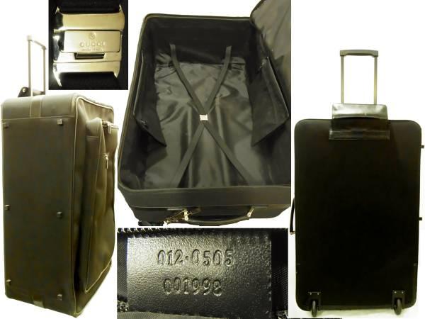 big sale b7a25 e6344 グッチ ビッグサイズ80cmキャリーバッグ 鍵付きスーツケース黒ナイロン×レザー キャスター付き旅行かばん GUCCIロゴプレート付き ブラック