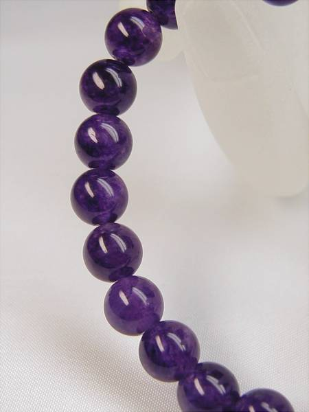 ♪即決 【壽】直径8.2mm天然最高AAA級極品大粒本紫水晶ブレス*金_画像2