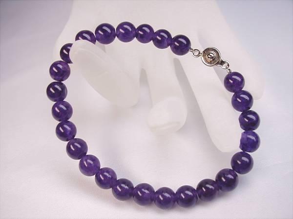 ♪即決 【壽】直径8.2mm天然最高AAA級極品大粒本紫水晶ブレス*金_画像1