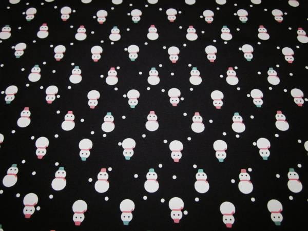 【京わぎれ】正絹 長襦袢はぎれ 雪だるま 黒地=替え袖用=2.2m②_画像1