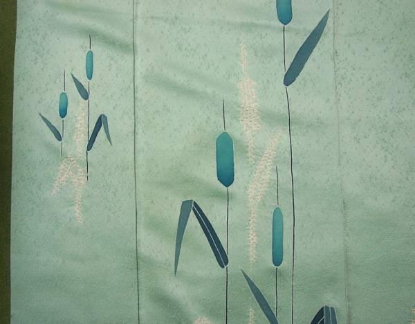 ♪★留★正絹・綸子・付下・着物【絞り・麦穂図】身丈158cm_画像2