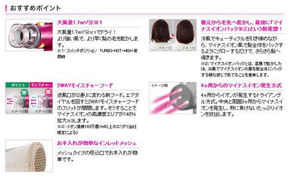 ☆ione マイナスイオンパックヘアードライヤー pink 新品_画像2