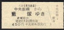 (上毛電気鉄道)東武連絡乗車券(中央前橋から藪塚ゆき)