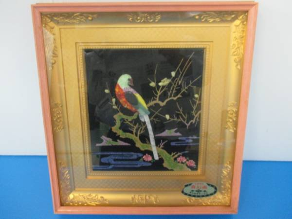 【良品】★貴石画★鳥 工芸品 F3号サイズ