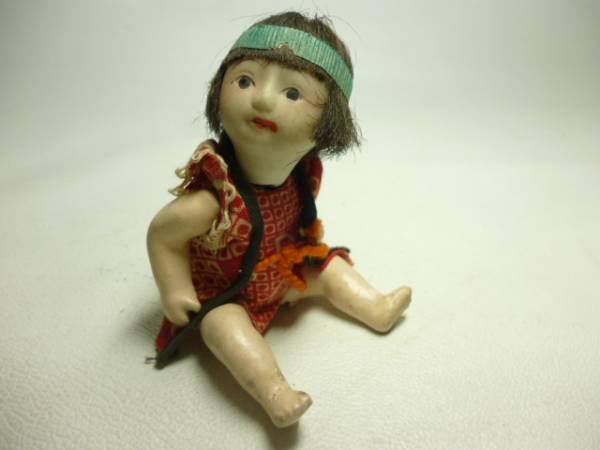 時代物 這い這い人形赤着物 約11cm 御所人形ミニチュア豆人形_画像1