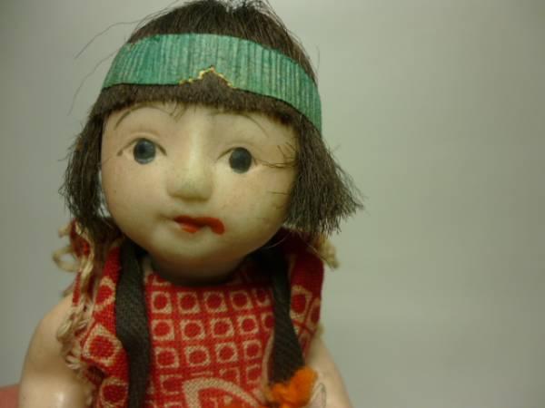 時代物 這い這い人形赤着物 約11cm 御所人形ミニチュア豆人形_画像3