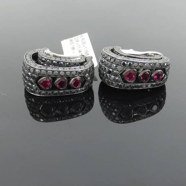 《De Grisogono11ctブラックダイヤモンド》18Kピアスイヤリング_画像1